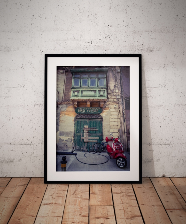 #DisappearingMalta series - 'Joseph Farrugia store & Scooter' Pieta, Malta ©Helen Jones-Florio framed photography prints