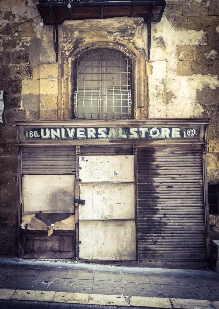 'Universal Store', Triq I-Ifran, Valletta, Malta - vintage storefront © Helen Jones-Florio