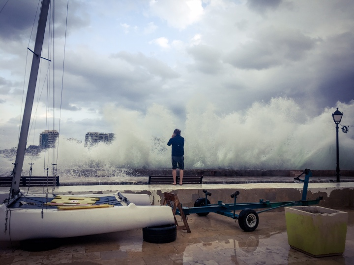 Photographer, Jason Florio, photographs Stormy Mediterranean Sea, Spinola Bay, Malta ©Helen Jones-Florio