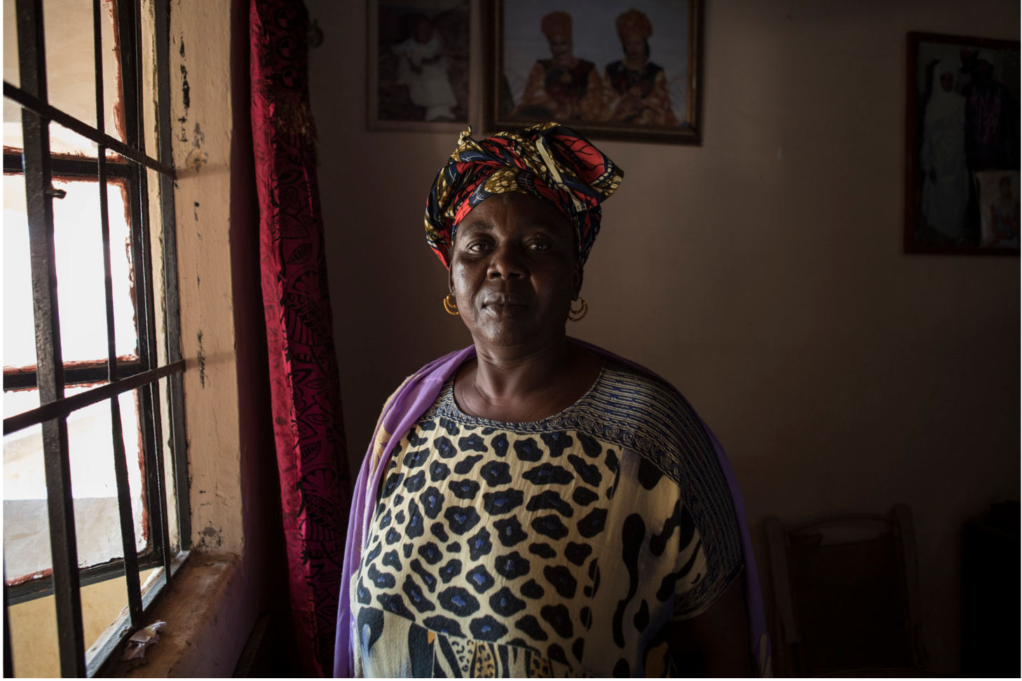 Jugana Susso, was arrested and detained during a peaceful demonstration by President Jammeh's feared security services. She was tortured and beaten so badly on her legs she has problems walking even around her own home ©Jason Florio