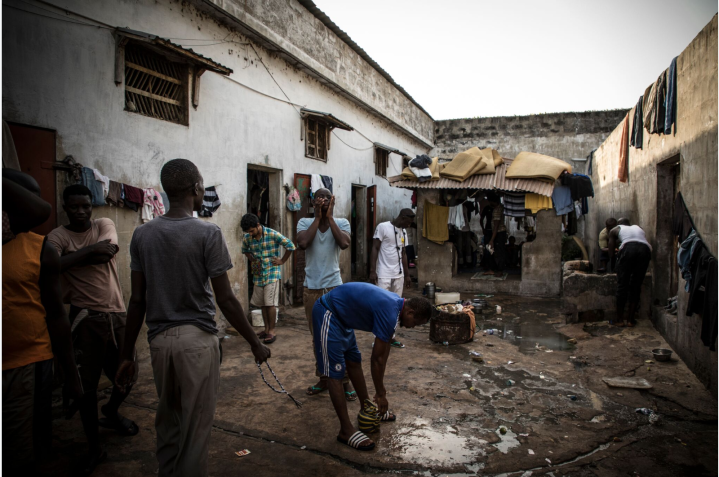Exclusive images from Inside the notorious Mile 2 Prison, The Gambia – in the exercise yard of the Remand Wing – image ©Jason Florio
