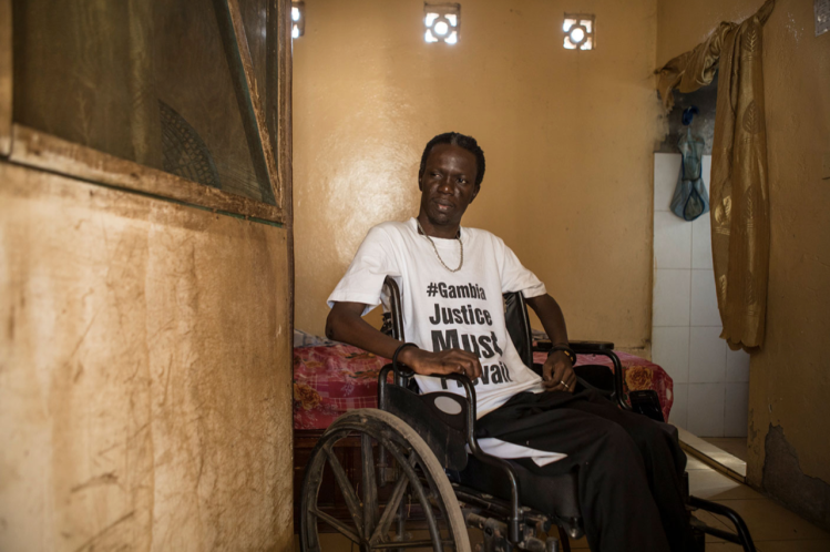 In April 2000, Yusupha Mbye was shot in the back by Yahya Jammeh regime forces while attending a protest. He was left paralyzed. Image © Jason Florio