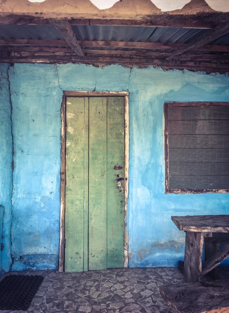 Green door, Kartong, The Gambia, West Africa © Helen Jones-Florio - from #GambiaDoors & #StoriesBehindDoors