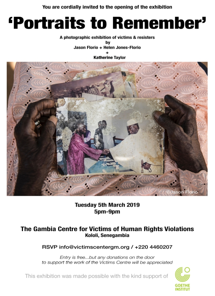 'Portraits to Remember'  victims and resisters - Exhibition invite, The Gambia, West Africa