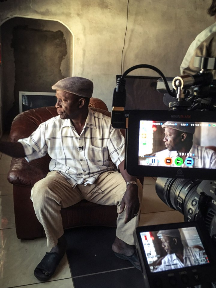 Gambian, Mbye Babou Chune gives his testimony, on camera, about the murder of his 14-year-old-son © Helen Jones-Florio, The Gambia, West Africa.