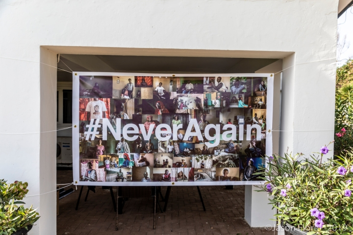 #NeverAgainGambia - banner of portraits of victims and resisters, exhibited at the British High Commission, in The Gambia. Portraits ©Jason Florio / Helen Jones-Florio
