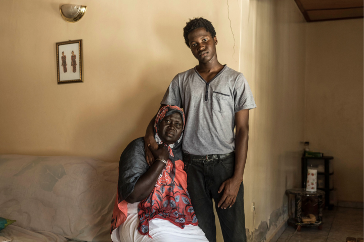 'Gambia - victims and resisters' : portrait of Fatou Jaiteh & Modou Lamin Jammeh - mother and son of murdered 'brother' of Yahya Jammeh, Haruna Jammeh ©Jason Florio