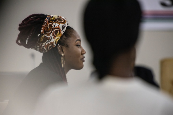 Fatou 'Toufah' Jallow testifies before the TRRC, about being raped by ex-President Yahya Jammeh of The Gambia. Image © Jason Florio
