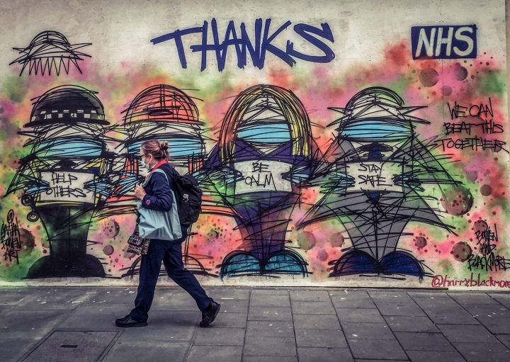 COVID19 - Thanks to the National Health Service (NHS) mural by Harry Blackmore/Nathan Bowen, Soho, London, May 2020 ©Helen Jones-Florio