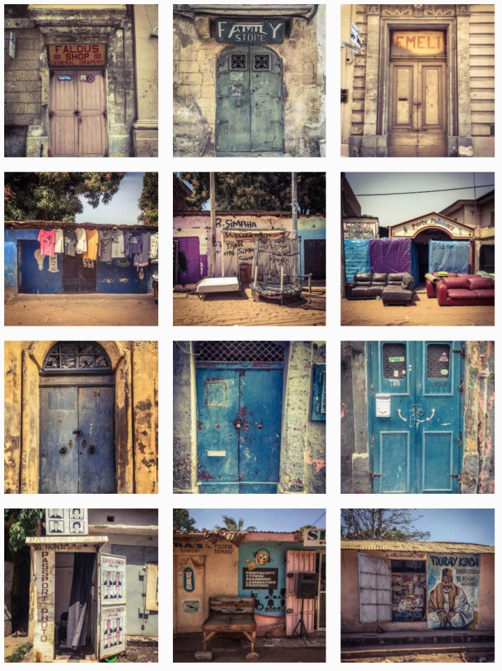 Montage of doors and storefronts from The Gambia, West Africa, and the Mediterranean island of Malta. Images ©Helen Jones-Florio