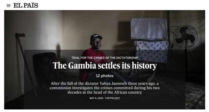 El Pais - TRIAL FOR THE CRIMES OF THE DICTATORSHIP The Gambia settles its history. Images ©Jason Florio/Helen Jones-Florio #Portraits4PositiveChange