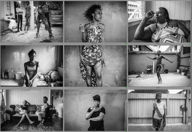 Montage of black and white portraits of the powerful trans-women of Guyana Trans United. Images © Jason Florio