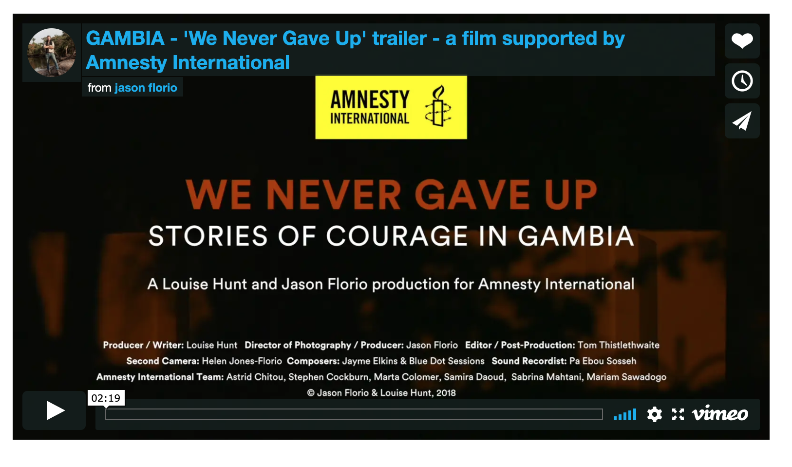Watch: 'We Never Gave Up - stories of courage from Gambia'. Documentary Director of Photography/cinematographer/co-producer: Jason Florio