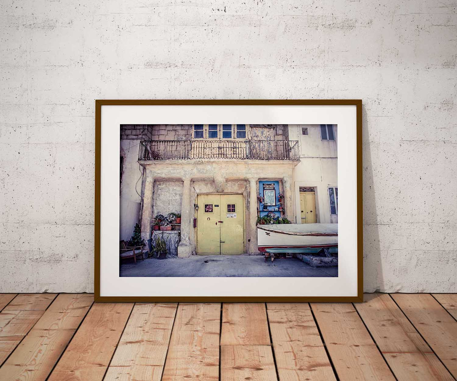 Doors and Storefronts of Malta - Disappearing Malta - The Shrine, yellow doors, and sail boat, Pieta, Malta ©Helen Jones-Florio photography prints
