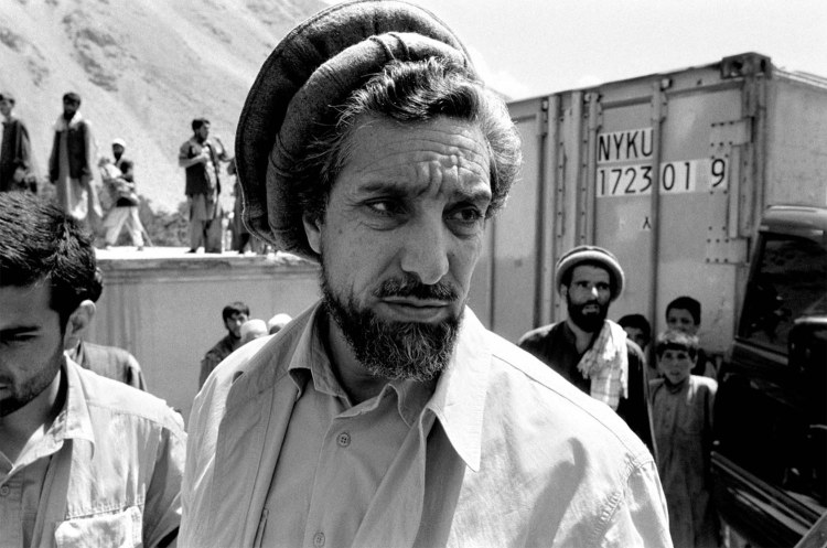 The portrait of Ahmed Shah Massoud - 'The Lion of Panjshir' - in his camp in the mountains was taken shortly before he was killed. Panjshir Valley, Afghanistan. black and white portrait © Jason Florio, September 2001