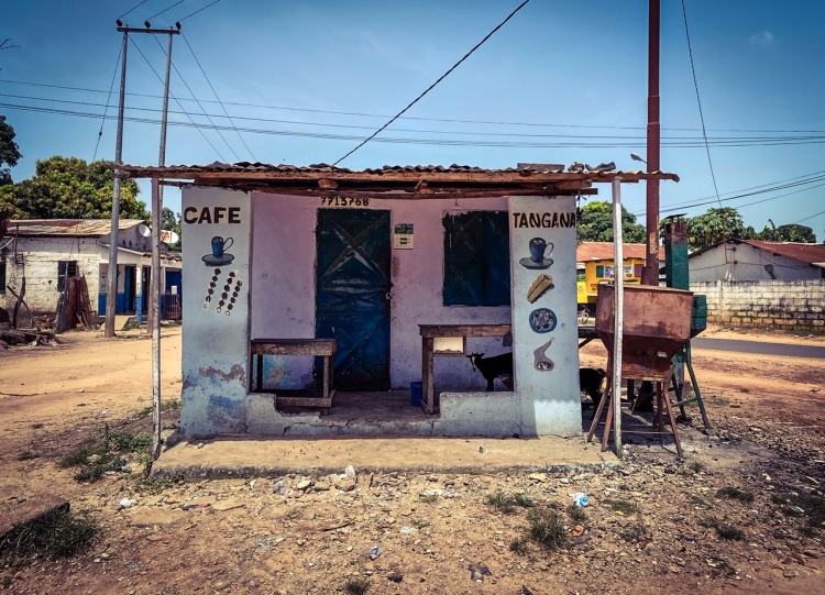 Gambia Doors: a local cafe storefront, with hand painted signs - with a goat hiding in the shade of the terrace - in a suburban setting. Image ©Helen Jones-Florio