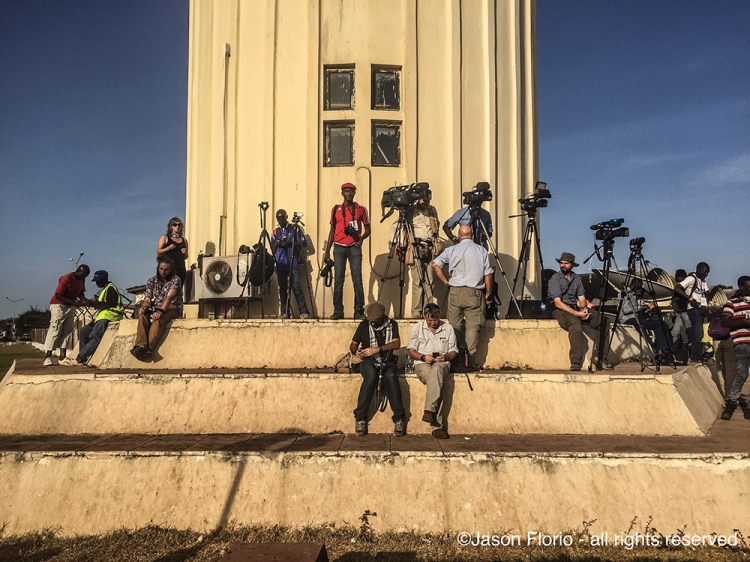 The International press waiting at Banjul Airport for Yahya Jammeh to leave the country into exile - Jan 21 2017. Image ©Jason Florio