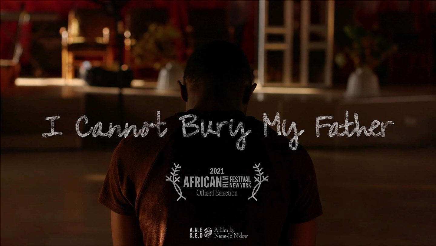 Poster advertising the screening of 'I Cannot Bury My Father' short documentary at the African Film Festival, New York. Director of Photography - Jason Florio