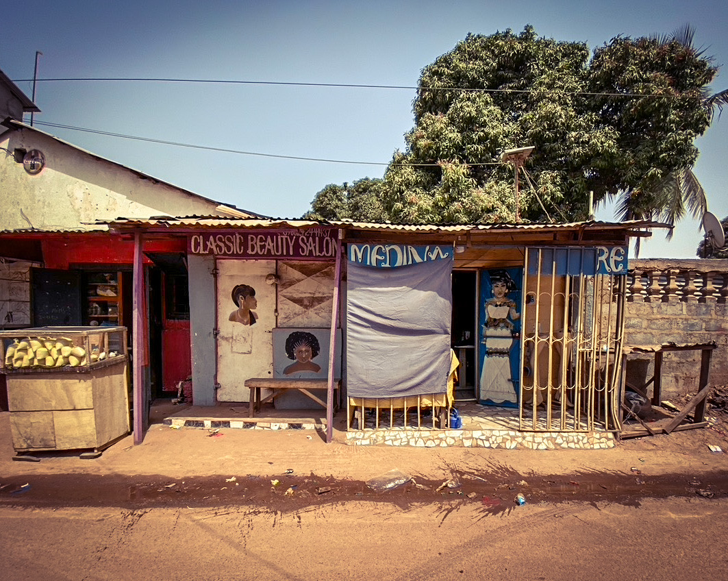 #GambiaDoors - the shop front of a local beauty salon in Serrekunda, The Gambia ©Helen Jones-Florio