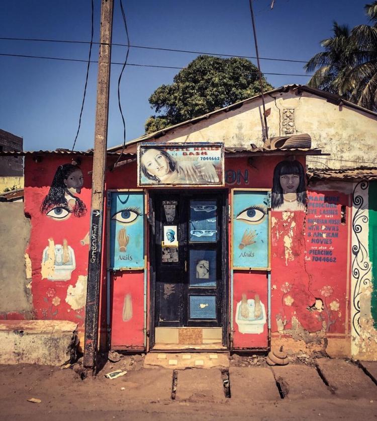 #GambiaDoors - hand-painted beauty salon,'Juste Nails Bash' beauty shop, Serekunda, The Gambia. Image ©Helen Jones-Florio