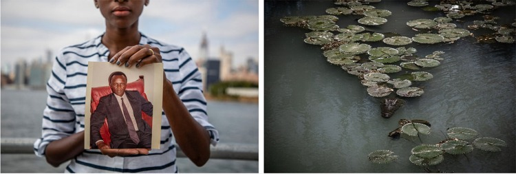 Cap Prize Winners 2021 - L: A young Gambian woman holds a photograph of her father, with the New York skyline in the background. R: crocodiles swimming in a pool beneath lily pads Images ©Jason Florio