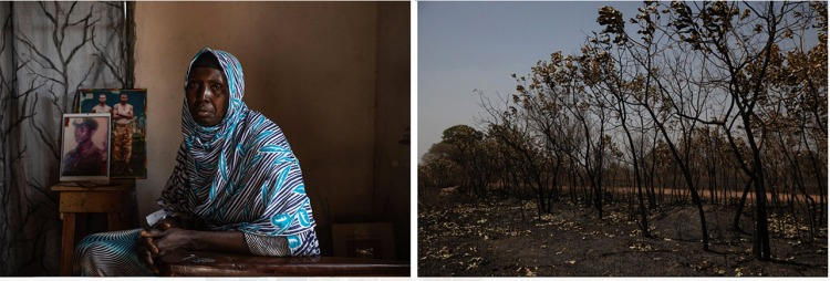 CAP Prize Winners 2021 L: a Gambia woman sits in a darkened room, with photos of her late brother in the background. R: a forest in rural Gambia. Images © Jason Florio / Helen Jones-Florio 'Gambia-victims, and resisters'