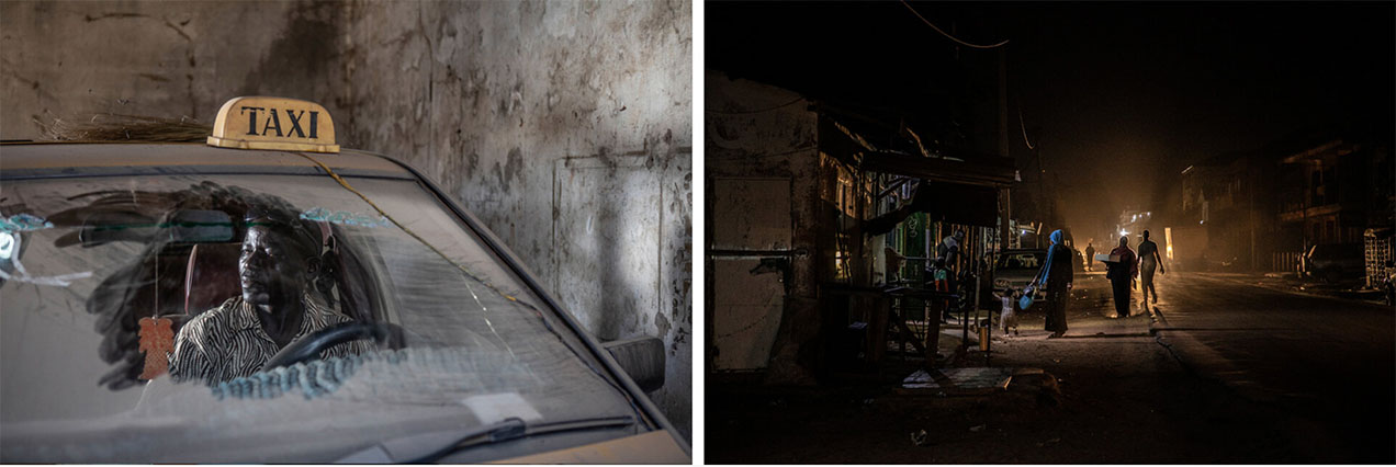 CAP Prize Winners 2021: (L) A man sits behind the wheel of his disused taxi - seen through the windscreen. (R) A nighttime street view, with people walking, silhouetted against street lights. Images © Jason Florio / Helen Jones-Florio 'Gambia-victims, and resisters'