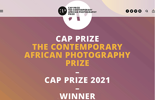 CAP Prize - Contemporary African Photography - 2021 Winners - screen grab with winners names